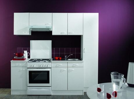 Une cuisine blanche pour petits espaces dans un salon aux tons prune