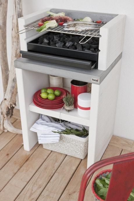 barbecue en béton design avec tiroir de collecte et nettoyage de cendres