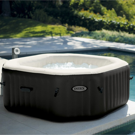 Spa gonflable intex pure spa jets bulles octogonale 4 places assises