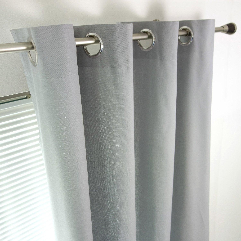 Rideau tamisant, Sunny, gris galet, l.140 x H.260 cm INSPIRE