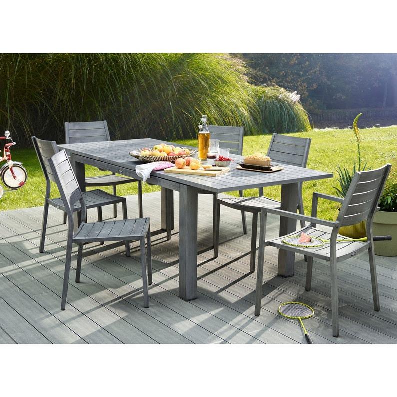 Table de jardin NATERIAL Antibes rectangulaire gris 6/8 personnes ...