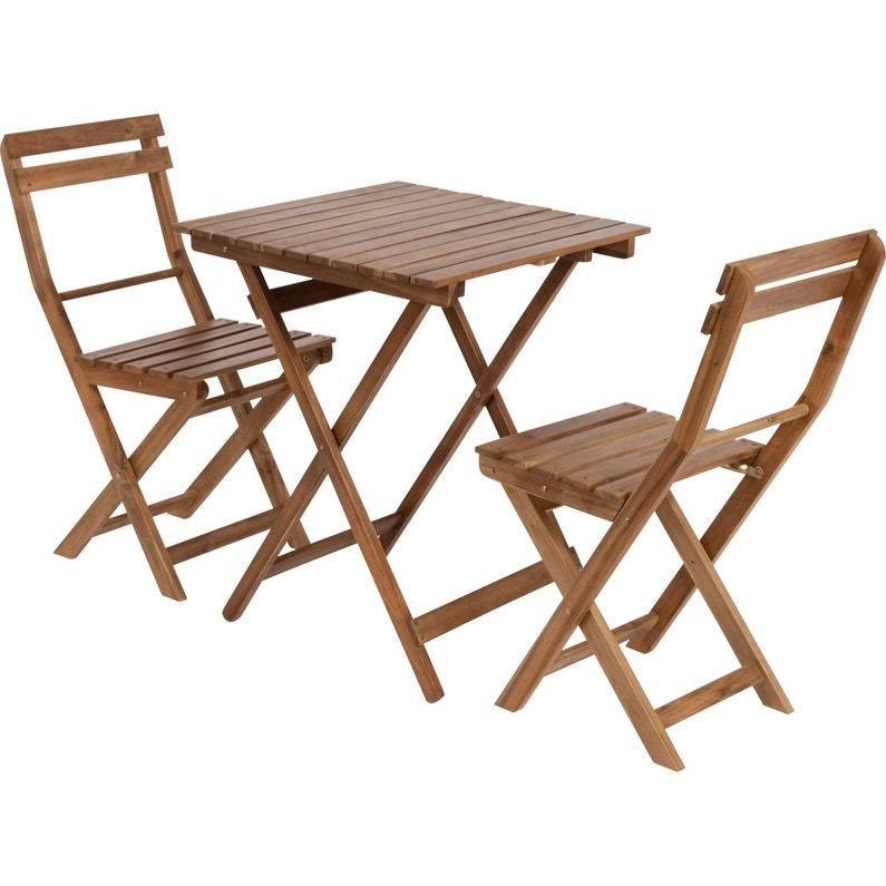 Salon de jardin Porto bois marron, 2 personnes   Leroy Merlin