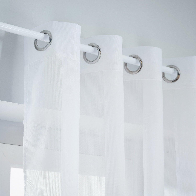Voilage tamisant, Tagoda, blanc, l.140 x H.280 cm INSPIRE
