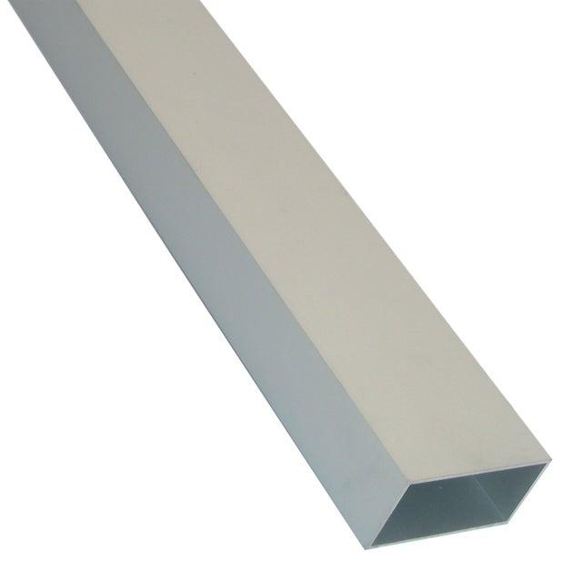 Tube Rectangulaire Aluminium Brut Argent L1 M X L12 Cm X H1 Cm