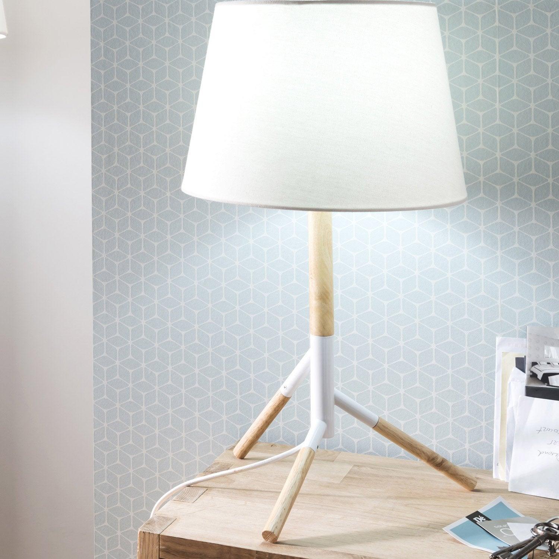 Lampe, e27 Forest MATHIAS, tissu blanc, 52 W