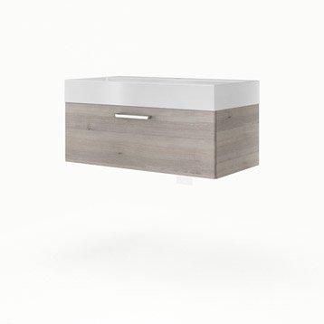 Meuble vasque l.90 x H.32 x P.48 cm, imitation chêne grisé, SENSEA Neo line