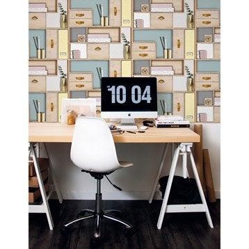 Papier peint intissé Office scandi multicouleur