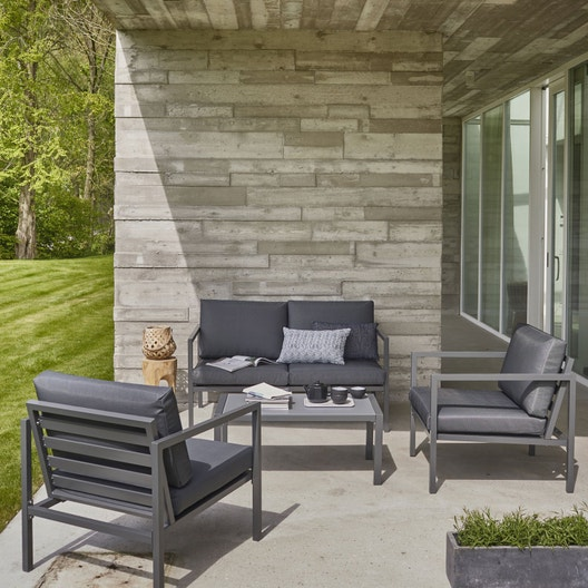 Salon bas de jardin Niagara aluminium gris, 4 personnes | Leroy Merlin