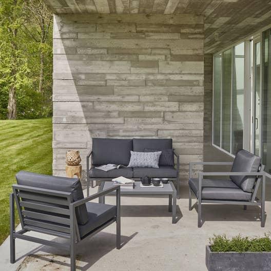 Salon bas de jardin niagara aluminium gris 4 personnes for Leroy merlin carpas jardin
