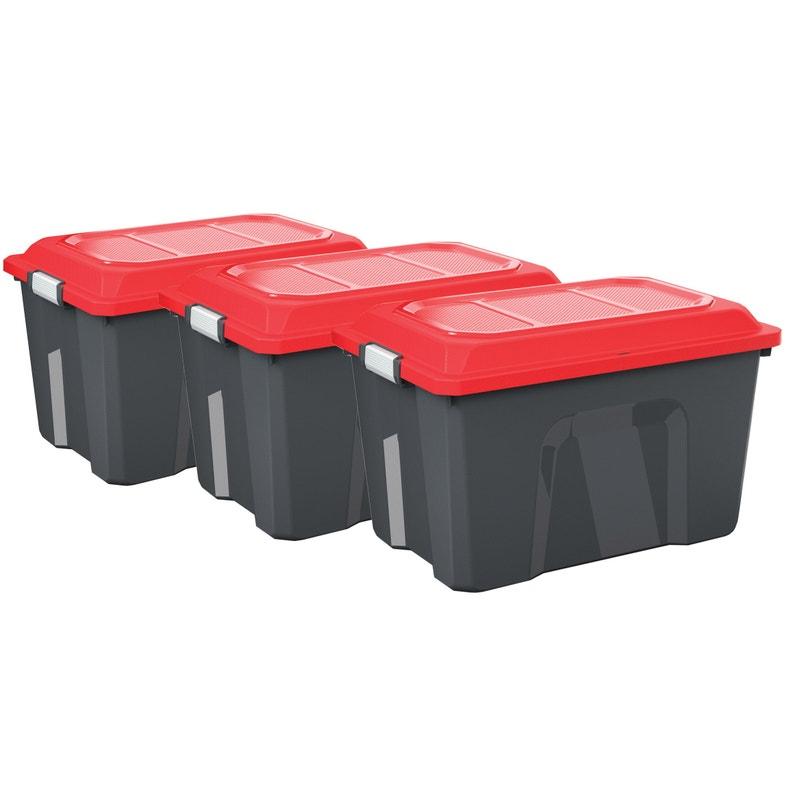 Lot De 3 Malles Locker Plastique L 39 X P 58 5 X H 49 Cm