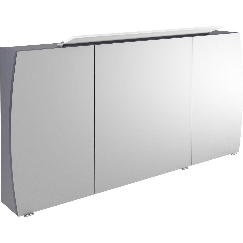 armoire de toilette lumineuse l 140 cm gris image. Black Bedroom Furniture Sets. Home Design Ideas