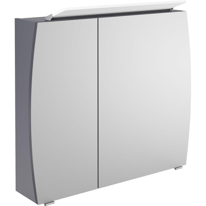 armoire de toilette lumineuse l 80 cm gris image leroy merlin. Black Bedroom Furniture Sets. Home Design Ideas