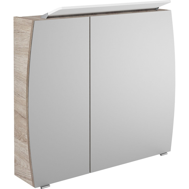 armoire de toilette lumineuse l 80 cm imitation ch ne image leroy merlin. Black Bedroom Furniture Sets. Home Design Ideas