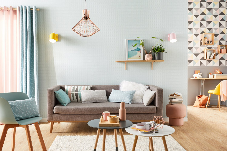 Un salon tout en pastel scandinave | Leroy Merlin