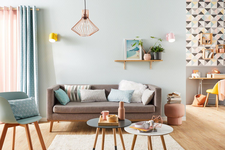 un salon tout en pastel scandinave leroy merlin. Black Bedroom Furniture Sets. Home Design Ideas