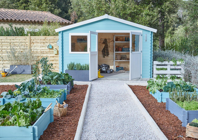 une cabane bleue assortie au potager leroy merlin. Black Bedroom Furniture Sets. Home Design Ideas
