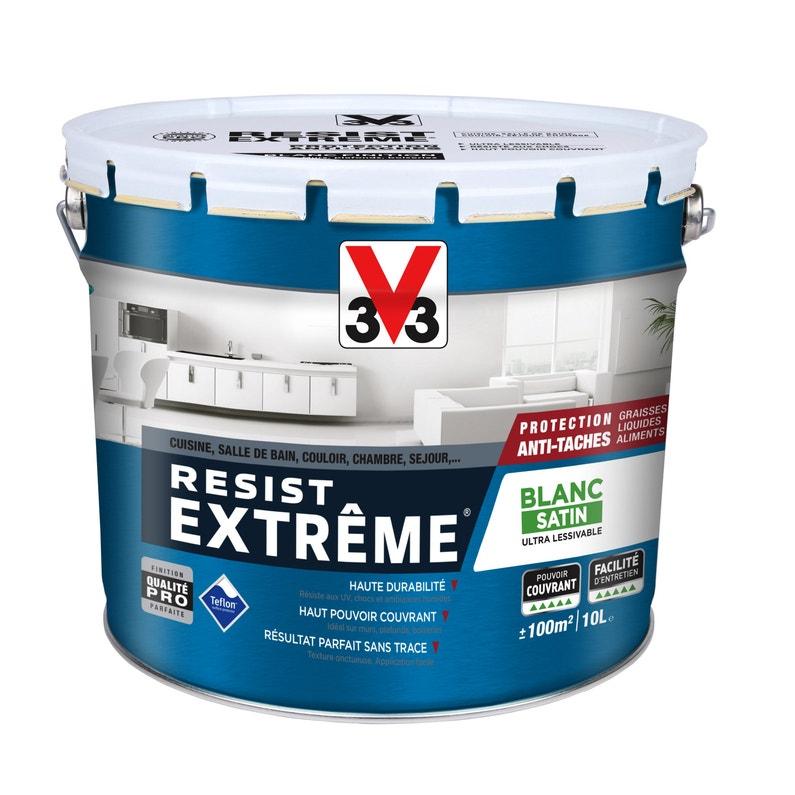 Peinture V33 Mur Plafond Et Boiserie Résiste Extrême Blanc Satin 10 L