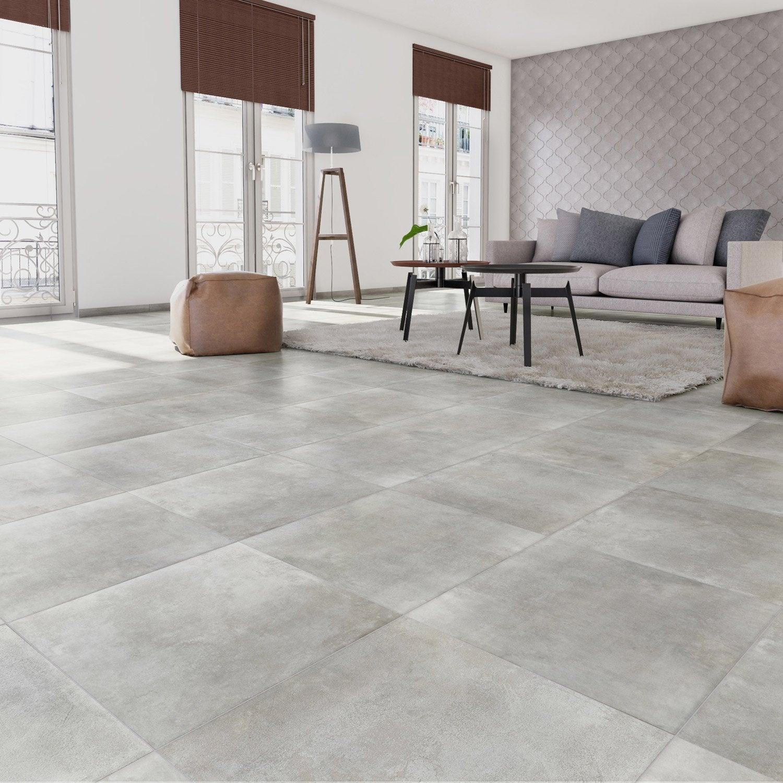 Carrelage sol et mur gris clair effet béton Laiton l.30 x L.60.4 cm ...