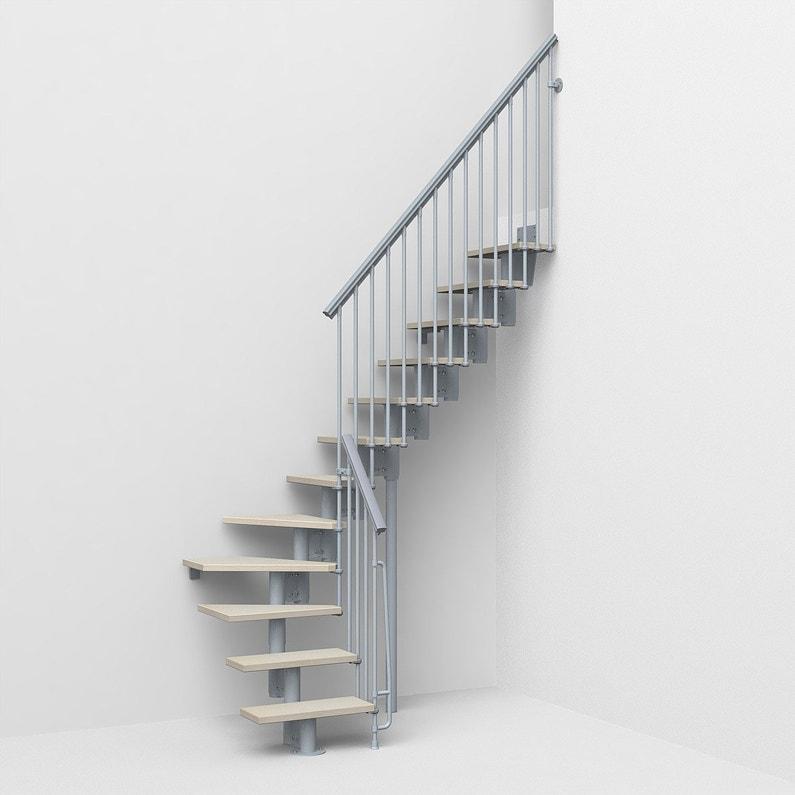 Escalier 1 4 Tournant Bas Réversible Acier Gris Strong 2 12 Marches L 64 Cm