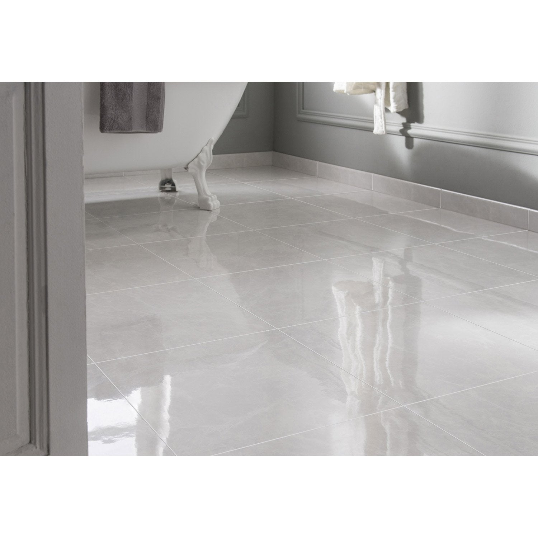 Carrelage sol et mur forte effet marbre blanc Olympie l.45 x L.45 cm