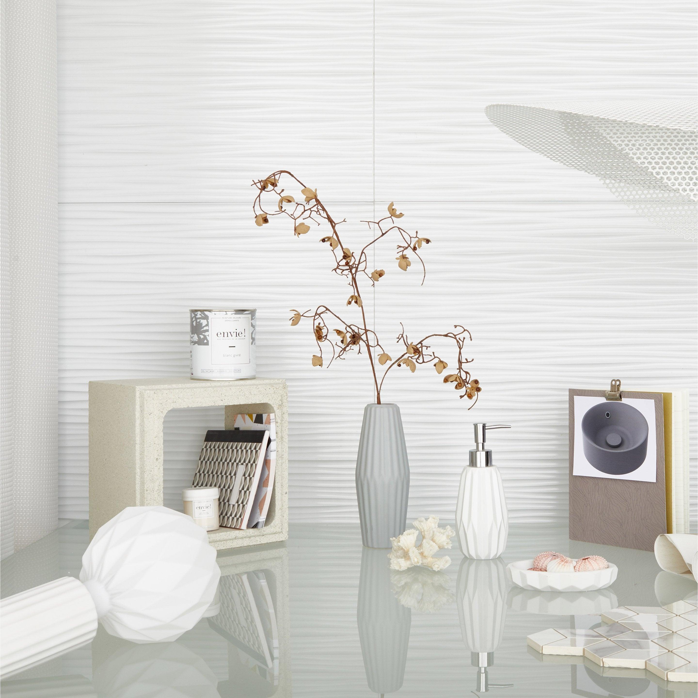 Vase décoratif céramique Strié gris / argent l.8 x H.21 cm