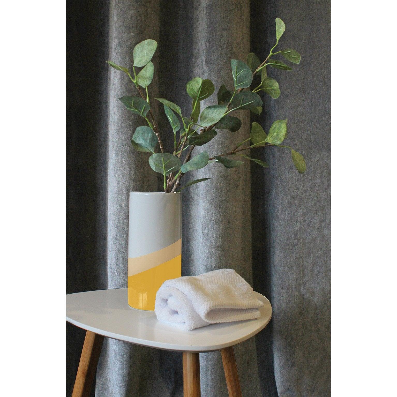 Vase décoratif céramique Block, jaune / doré l.10 x H.20 cm