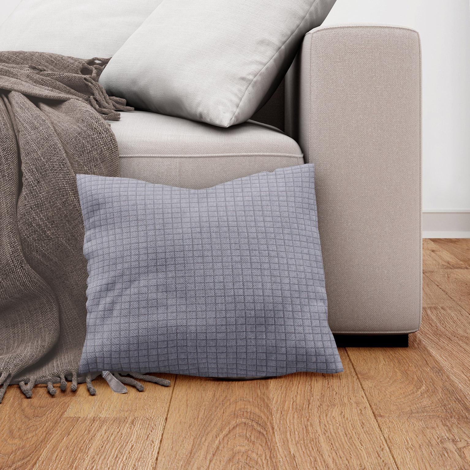 Coussin Quadri, gris l.40 x H.40 cm