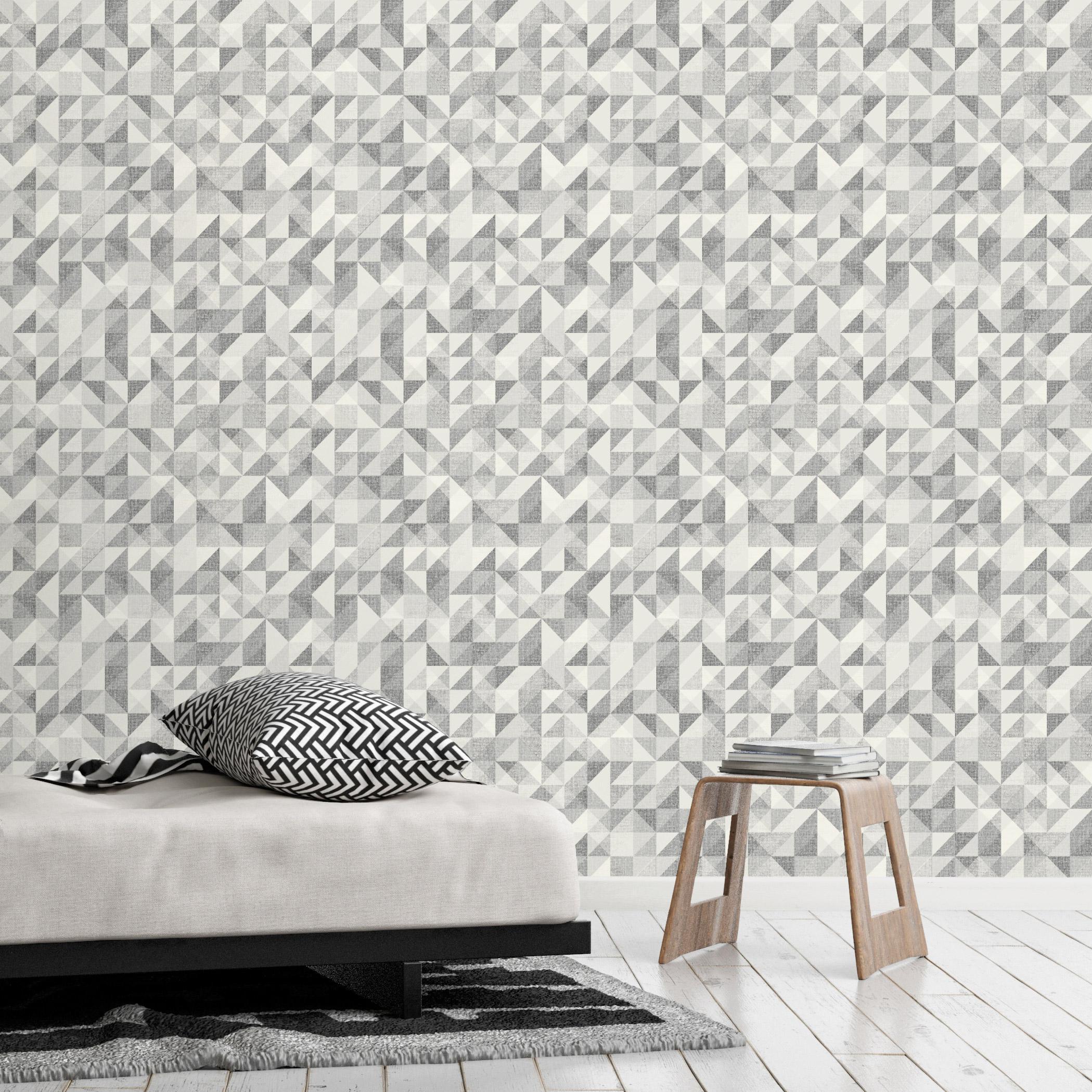 Papier peint vinyle expansé sur intissé Motif santiago gris