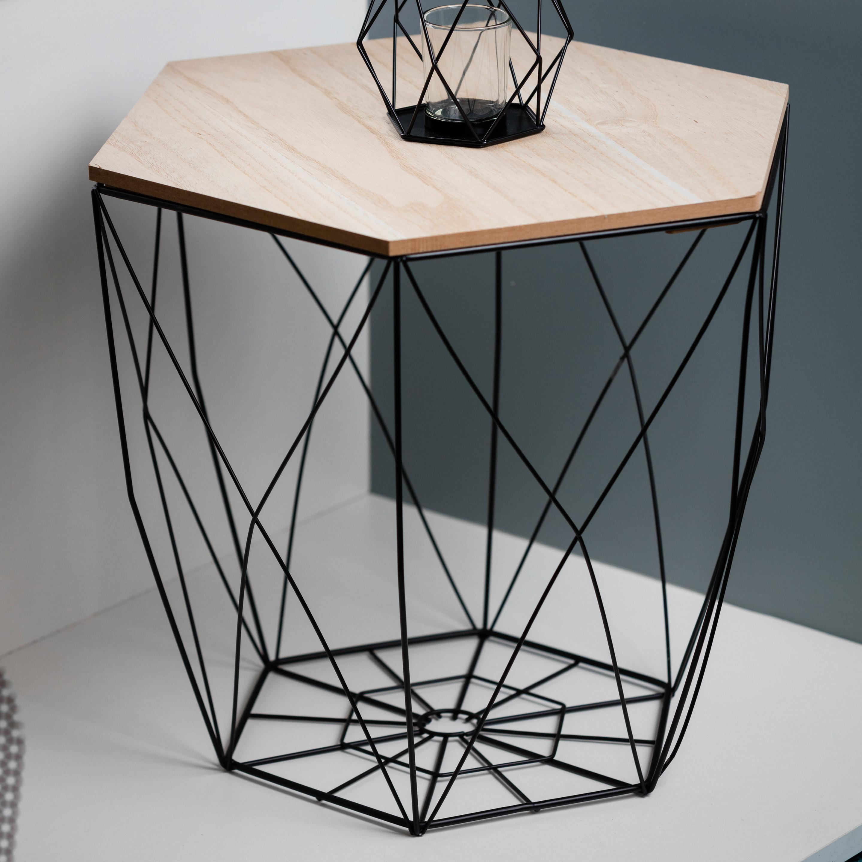 Table d'appoint Panière filaire, noir et bois naturel, l.40 x H.40.5 cm
