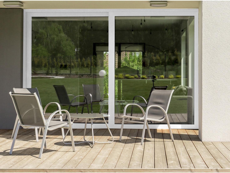 baie vitrée brico premium aluminium blanc avec volet