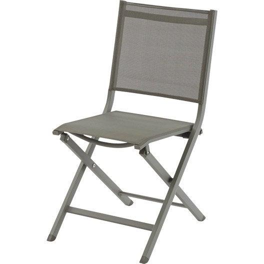 chaise de jardin en aluminium thema taupe taupe leroy merlin. Black Bedroom Furniture Sets. Home Design Ideas