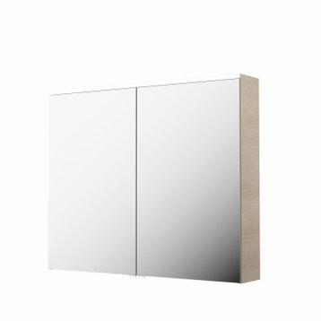 armoire de toilette lumineuse l 90 cm imitation chne naturel sensea neo - Armoire Miroir Salle De Bain