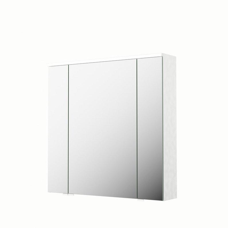 Armoire De Toilette Avec Prise Et Interrupteur.Armoire De Toilette Lumineuse L 75 Cm Blanc Sensea Neo