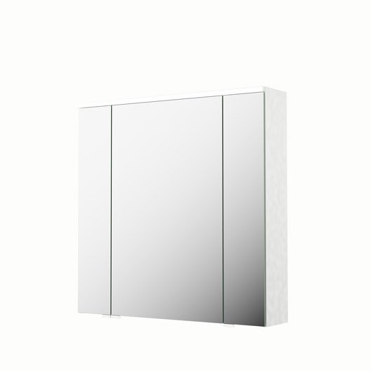 armoire de toilette lumineuse l 75 cm blanc sensea neo leroy merlin. Black Bedroom Furniture Sets. Home Design Ideas