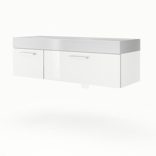 Meuble vasque x x cm blanc sensea neo - Meuble salle de bain 135 cm ...