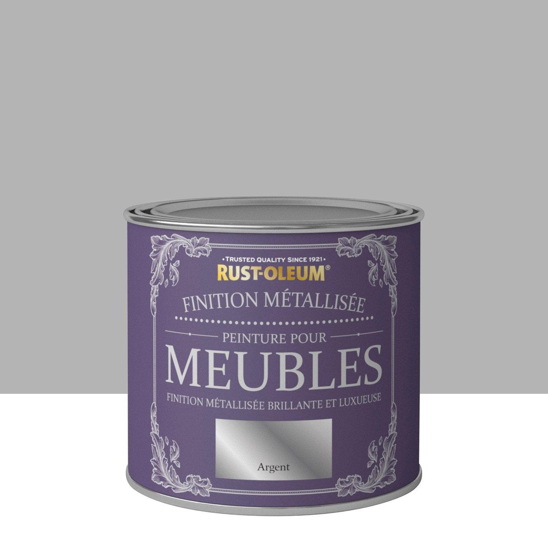 peinture pour meuble objet et porte poudr rustoleum argent 0 5 l leroy merlin. Black Bedroom Furniture Sets. Home Design Ideas