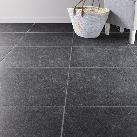 Carrelage sol et mur noir effet pierre bruges x l for Carrelage 40x40