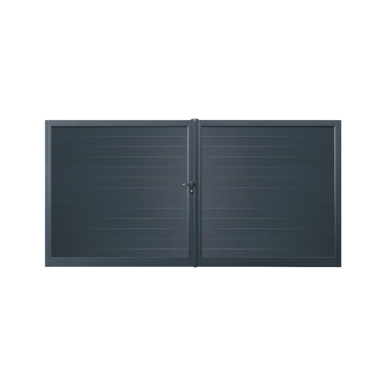 portail battant motoris aluminium valmont gris excellence cm x cm leroy merlin. Black Bedroom Furniture Sets. Home Design Ideas