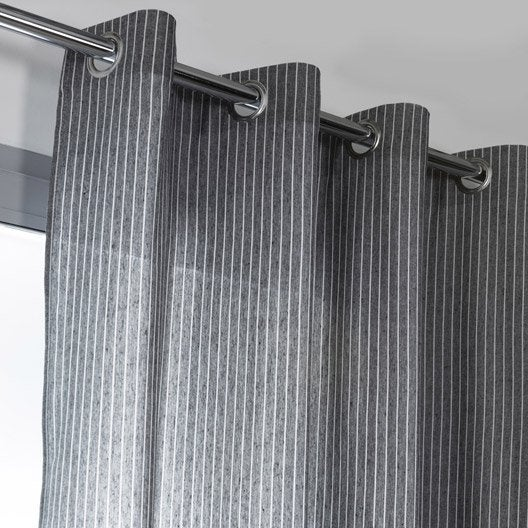 rideau tamisant brooklyn gris et blanc x cm. Black Bedroom Furniture Sets. Home Design Ideas