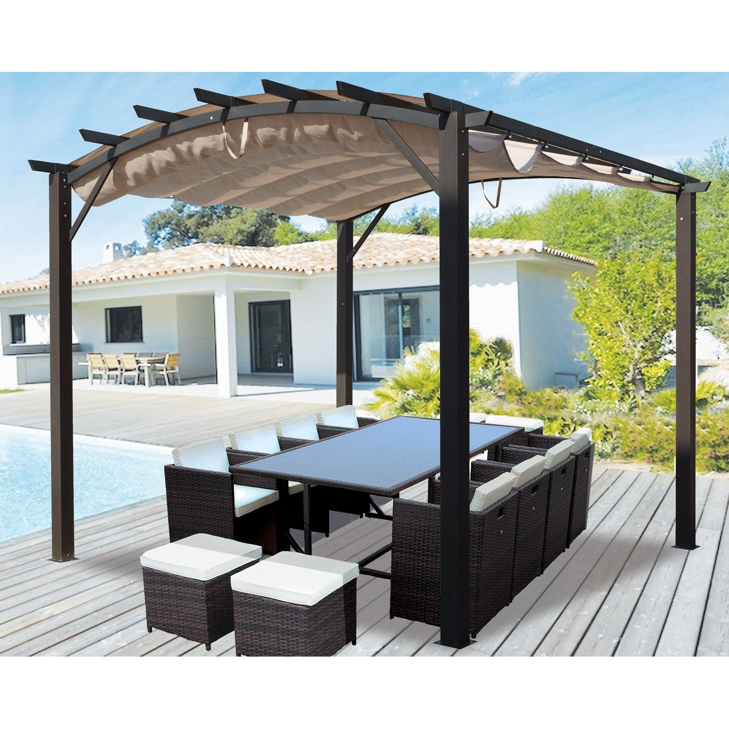 pergola pour terrasse ou balcon per 3433 ar acier et aluminium gris anthracite leroy merlin. Black Bedroom Furniture Sets. Home Design Ideas