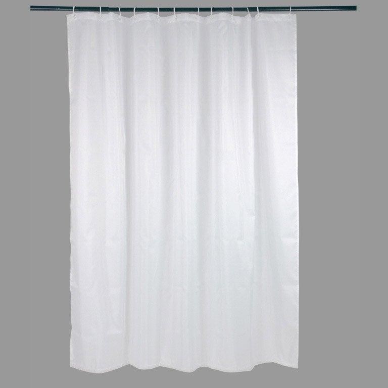 rideau de douche en textile blanc 180x200 cm happy sensea. Black Bedroom Furniture Sets. Home Design Ideas