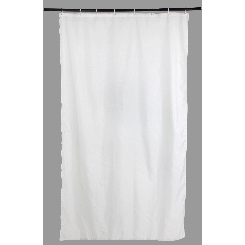 Rideau de douche en textile blanc-blanc n°0 l.120 x H.200 cm, Sunny SENSEA