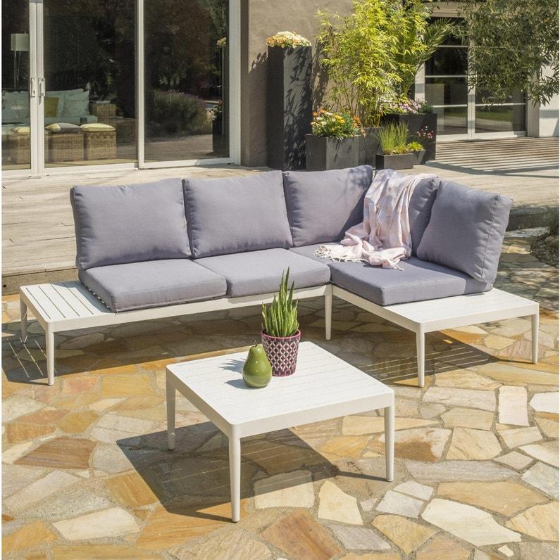 Salon bas de jardin Ankara-s1, aluminium, blanc et gris-bleu, 5 personnes