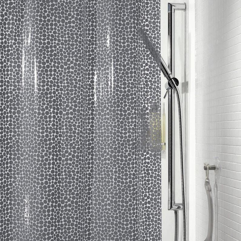 rideau de douche en plastique x cm gris gorron sensea leroy merlin. Black Bedroom Furniture Sets. Home Design Ideas