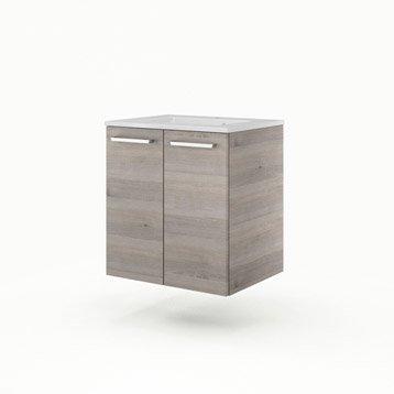 Meuble vasque l.60 x H.64 x P.48 cm, imitation chêne grisé, SENSEA Neo line
