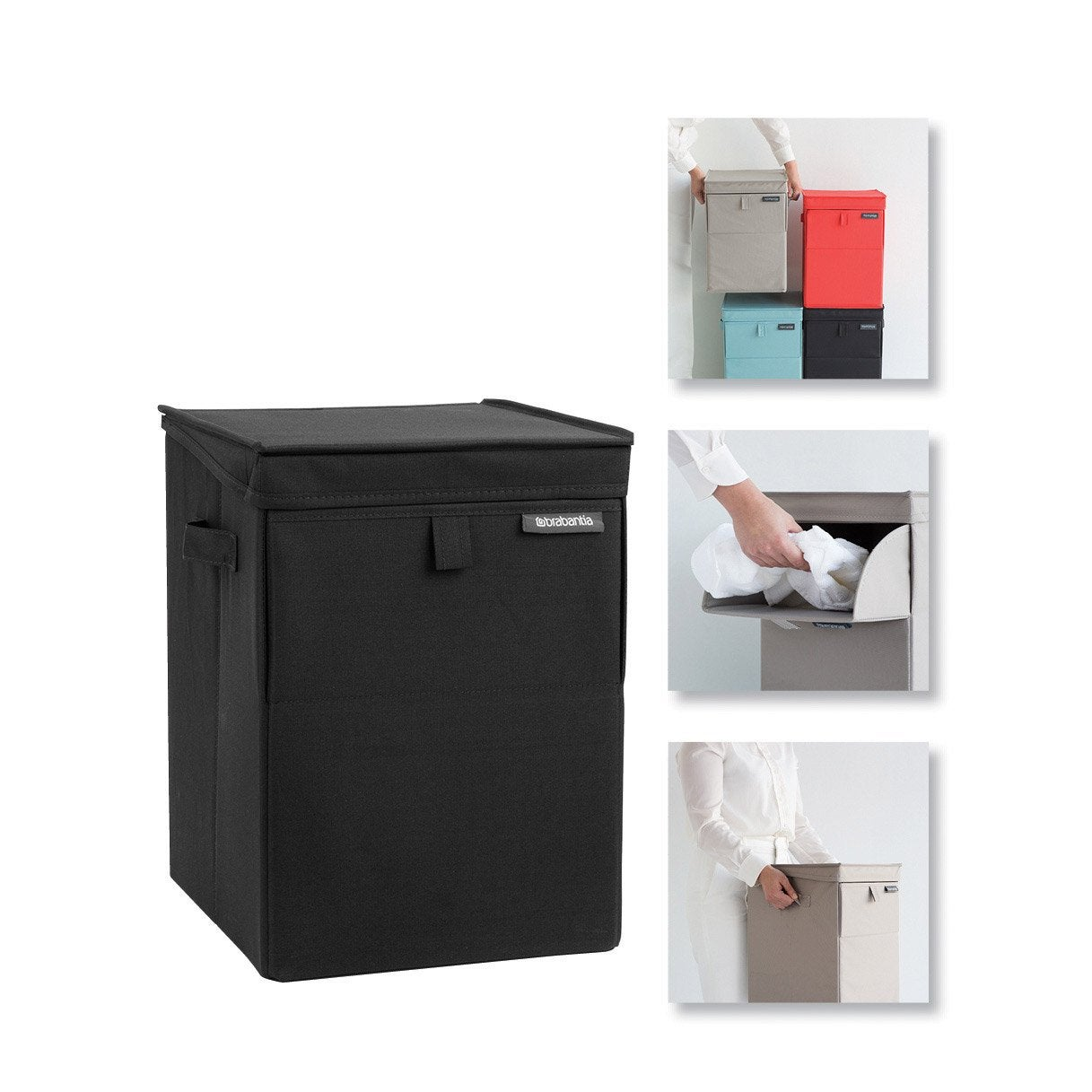 panier linge polyester coffre a linge empilable noir x x c leroy merlin. Black Bedroom Furniture Sets. Home Design Ideas