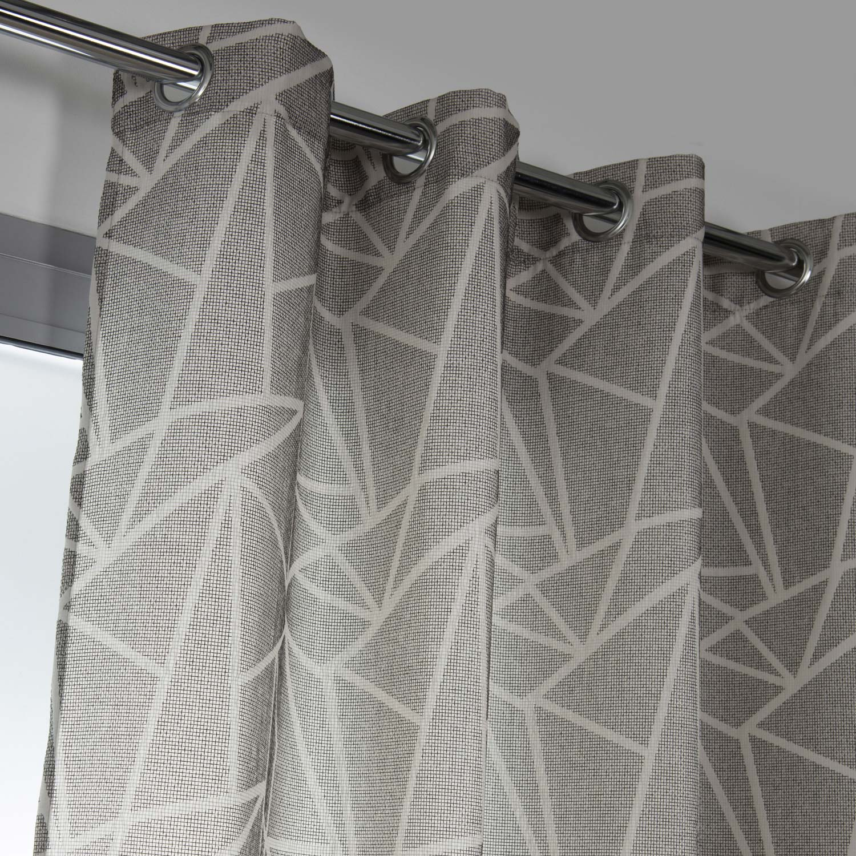 Rideau tamisant, Tango, gris/blanc, l.140 x H.250 cm