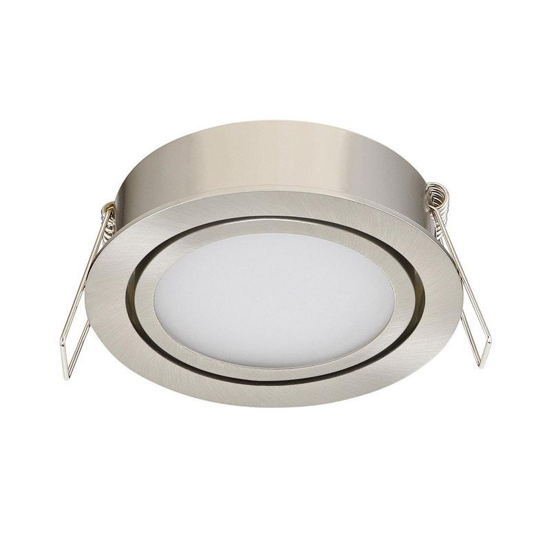 Kit 1 spot à encastrer salle de bains orientable INSPIRE LED intégrée acier