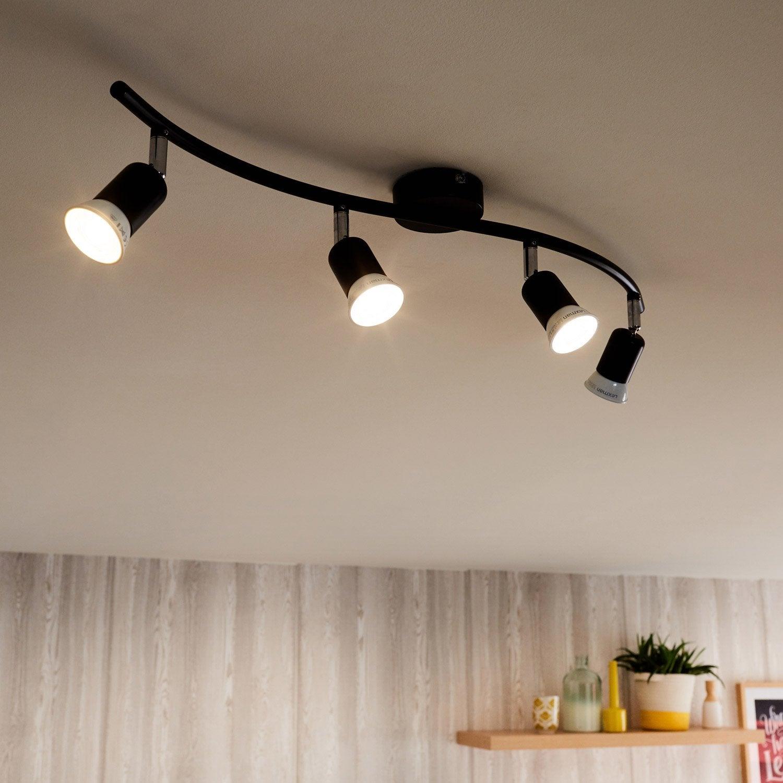 rampe 4 spots design basic 4 xgu10 noir leroy merlin. Black Bedroom Furniture Sets. Home Design Ideas