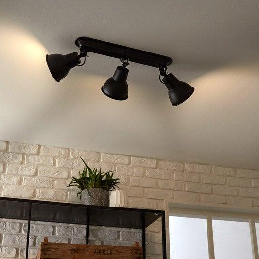 rampe 3 spots industriel mezzo 3 xe14 noir inspire leroy merlin. Black Bedroom Furniture Sets. Home Design Ideas